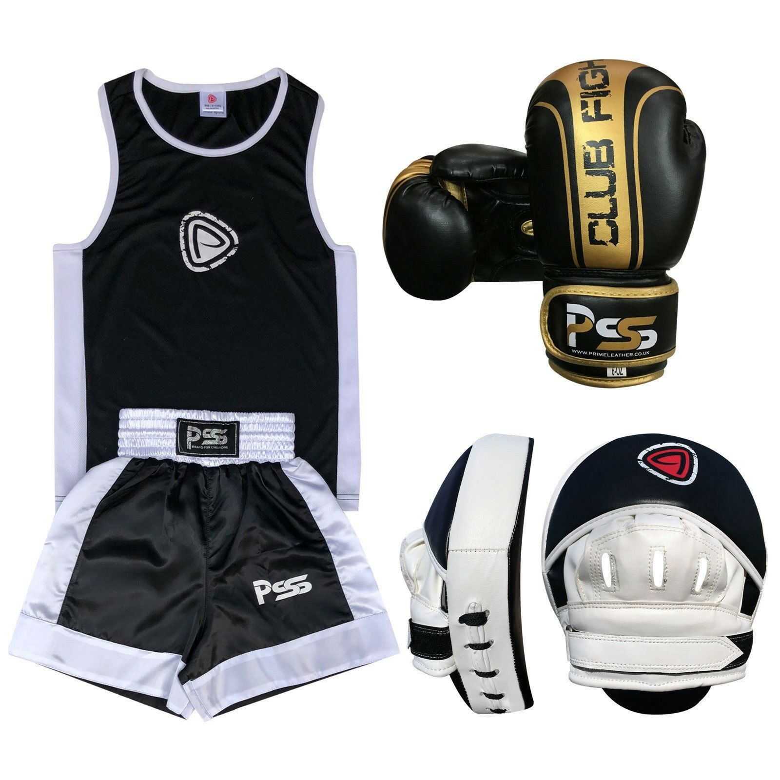 Kid Boxing Set of 3 3 3 Pcs Boxing Uniform Boxing Glove 1006 Focus Pad 1102 (SET-18) f12899