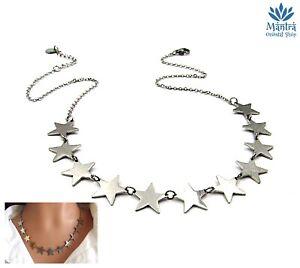 Collana donna girocollo in acciaio inox 11 stelle stelline catena argento da con