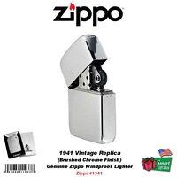 Zippo 1941 Vintage Replica Lighter, Genuine Windproof Brushed Chrome 1941