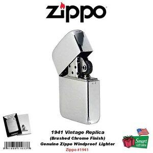 Zippo 1941 Vintage Replica Lighter, Genuine Windproof Brushed Chrome #1941