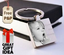 Metal Personalised Square Keyring Keychain PHOTO ENGRAVED Father's day Gift