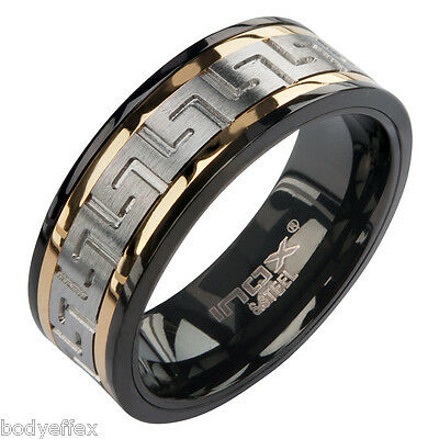 BOLD MENS INOX BLACK & GOLD IP STAINLESS STEEL GREEK KEY SPINNER BAND RING