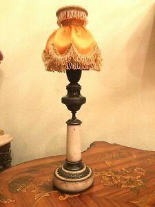 VINTAGE stone laiton Bakelite prise électrique lampe de table rétro abat-jour