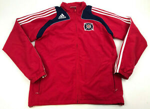 ADIDAS-Chicago-Fire-WINDBREAKER-Lightweight-FULL-Zip-Jacket-RED-White-STRIPE-S