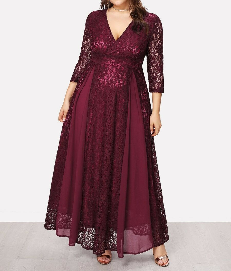 Plus Größe 2 Farbes Navy Burgundy Deep High Waist Lace Overlay Wrap Dress Casual