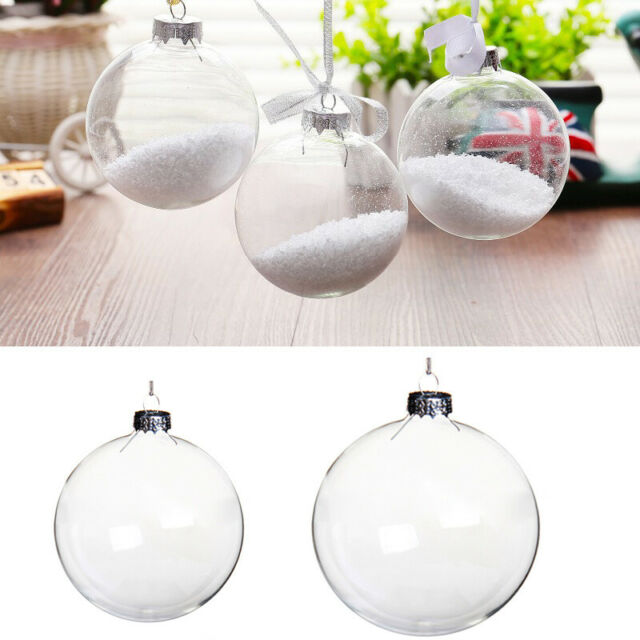 5 Pcs Clear Baubles Empty Fillable Christmas Tree Decorations Ornament Gift RE