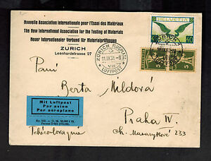 1931-Zurich-Switzerland-to-Prague-Czechoslovakia-Airmail-Cover-C14-Commercial