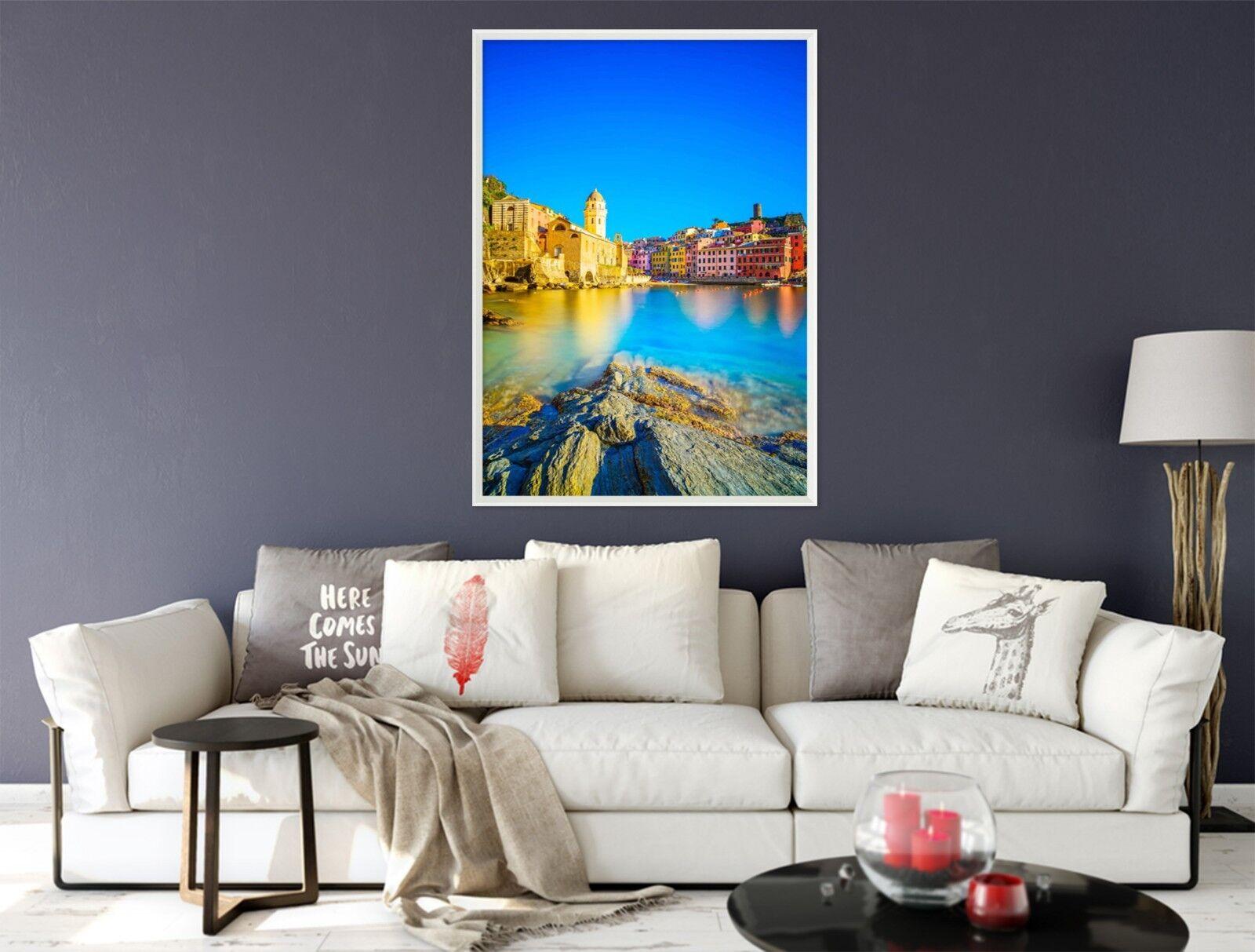 3d Rive couleur ville 49 Encadré Poster à la maison décor imprimer peinture art AJ