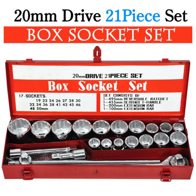 "21Pc Metric 3/4"" Socket Tool Bit Set Drive Wrench Long Extension Bar Drive Case"