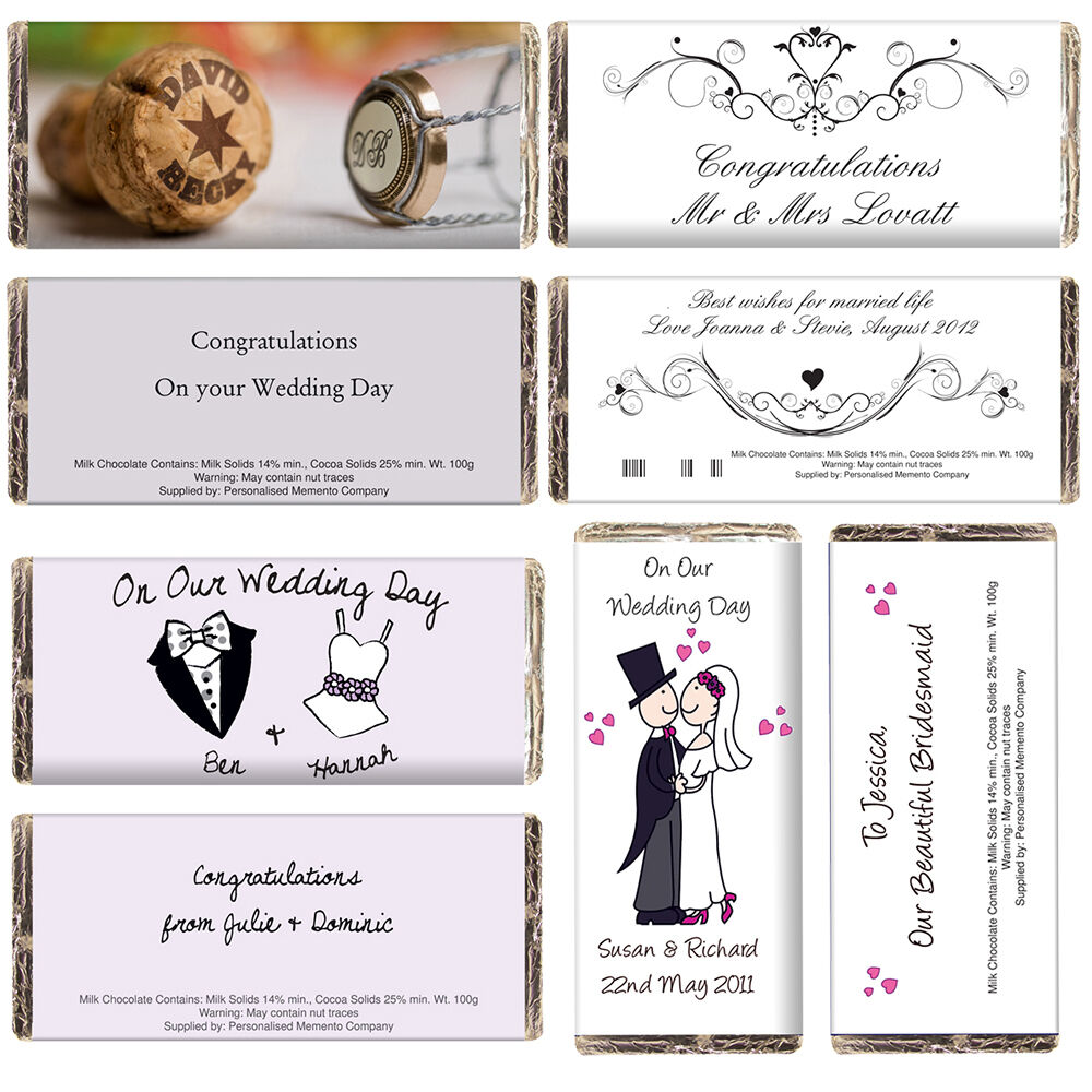 5-100 Personalised Wedding Chocolate Bars Bride & Grooms Name Date Guest Message