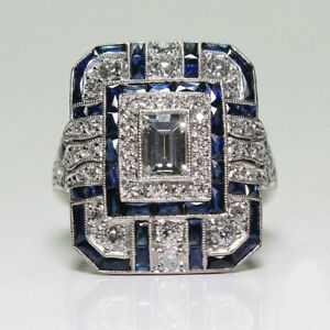 Fashion-Art-Deco-Rings-Jewelry-Silver-Plated-White-Topaz-amp-Blue-Sapphire-Ring