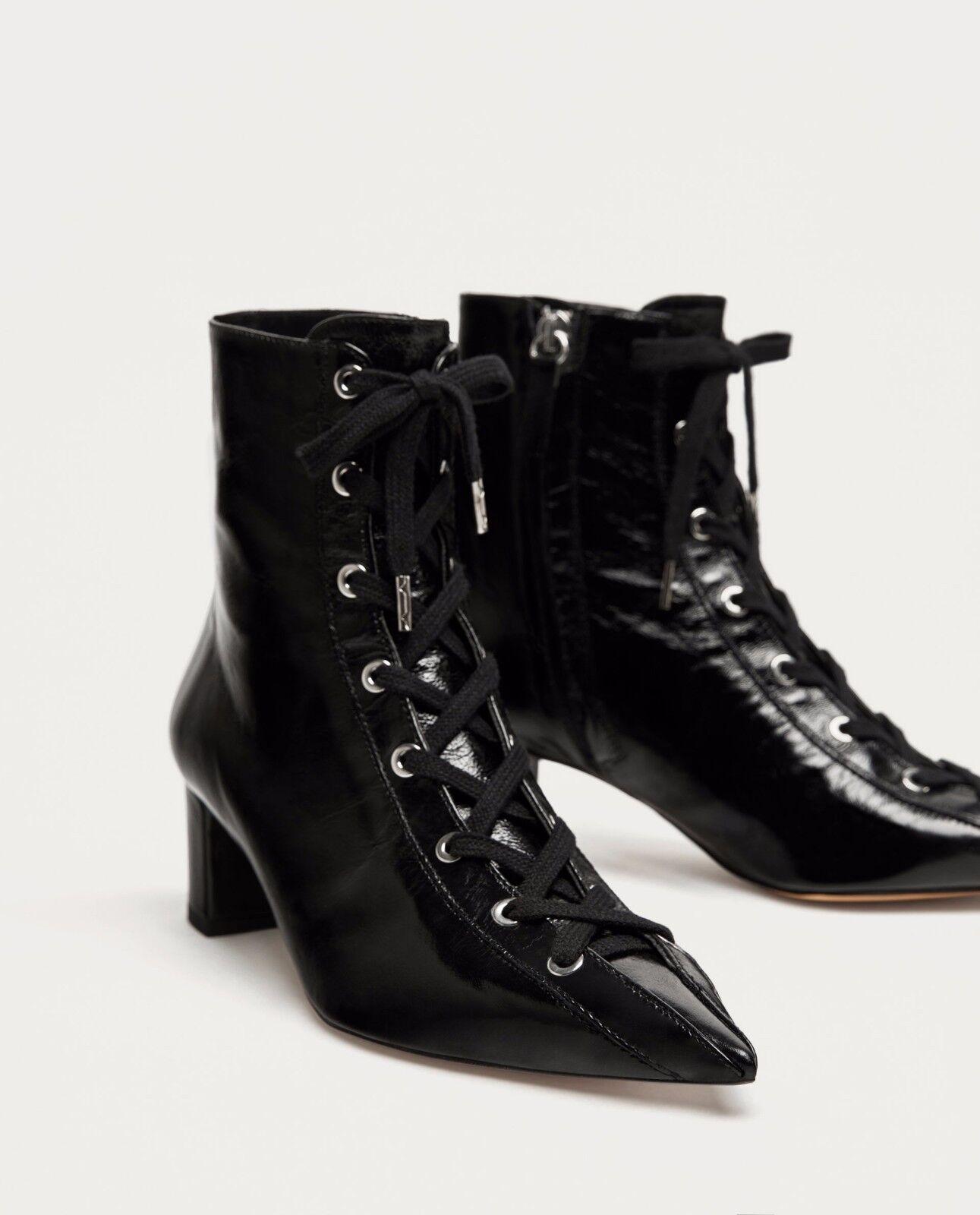 Zara Nuevas con Cordones Cuero Tacón Alto botas al Tobillo 6078 201