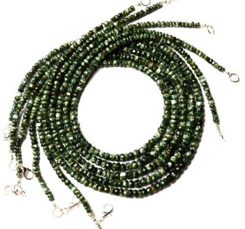 "Natural Gem Seraphinite Faceted 4 to 6MM Size Rondelle Beads Necklace 17/"" 72Cts."