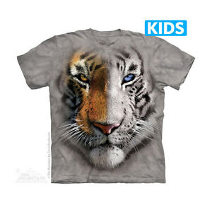 Big-Face-Split-Tig-Kids-T-Shirt-by-The-Mountain-Zoo-Animals-Sizes-S-XL-NEW