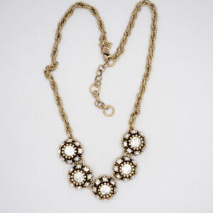 Banana-Republic-Jewelry-Antique-Matte-Gold-Plated-Cut-Crystals-Collar-Necklace