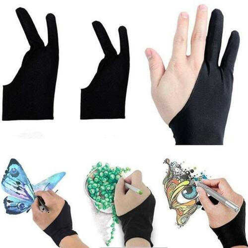 1PC Artist Drawing Glove Two Fingers Glove Antiskid Black for Graphics Tablet S