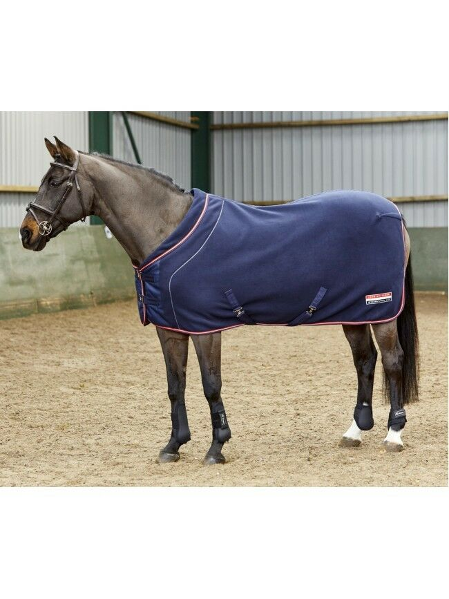 John Whitaker London Roll Neck Fleece Rug-Navy-Thermal-Breathable-Travel-F&F