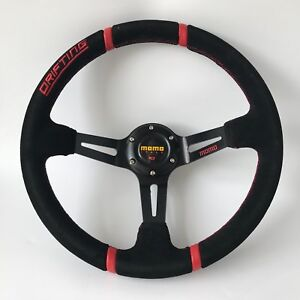 350mm OMP Black Suede Leather Deep Dish Steering Wheel For MOMO Hub Drifting YL