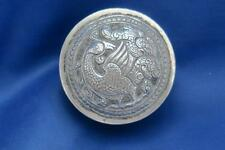 ANTIQUE PERSIAN WHITE METAL REPOUSSE ROUND BOX WITH MYTHICAL BIRD