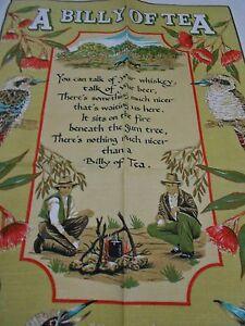 Vintage Teatowel /'A Billy of Tea/' Linen//cotton blend by Ross Aust  Brand New