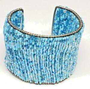 Sky-Blue-Gray-Blue-Shining-Beads-Wide-2-Inch-Cuff-Wire-Bracelet