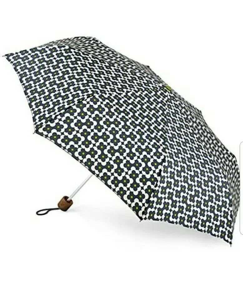 Orla Kiely Minilite Folding Umbrella In Flower Shadow Dot Ink BNWT Compact
