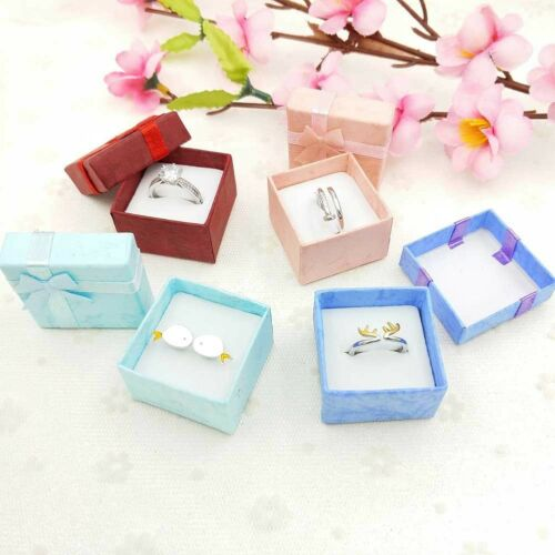 10X Lots New Ring Earrings Jewelry Display Gifts Boxes Bowknot Square Case Hot