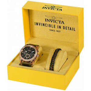 Invicta-MEN-039-S-WATCH-Aviator-Cronografo-quadrante-nero-cinturino-in-pelle-marrone-29799