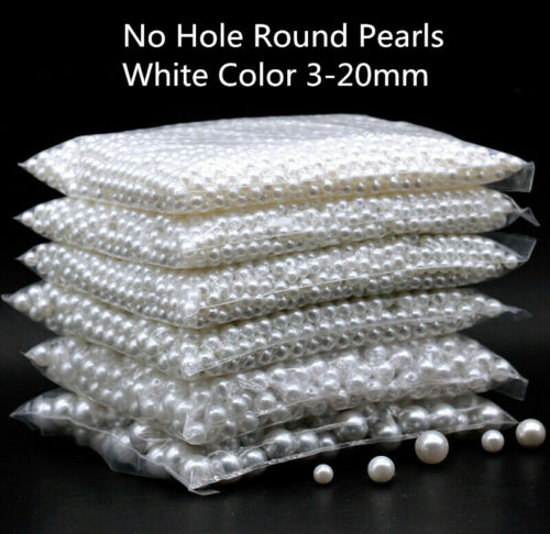3-20mm White No Hole Round Pearl Loose Acrylic Charms Beads Craft Jewelry Making