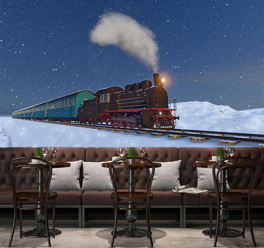 3D Sky Train Snow 835 Wallpaper Mural Paper Wall Print Wallpaper Murals UK