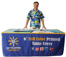 Trade Show 6ft Fitted Custom Printed Tablecloth Branded 4 Sided Table Cover Expo