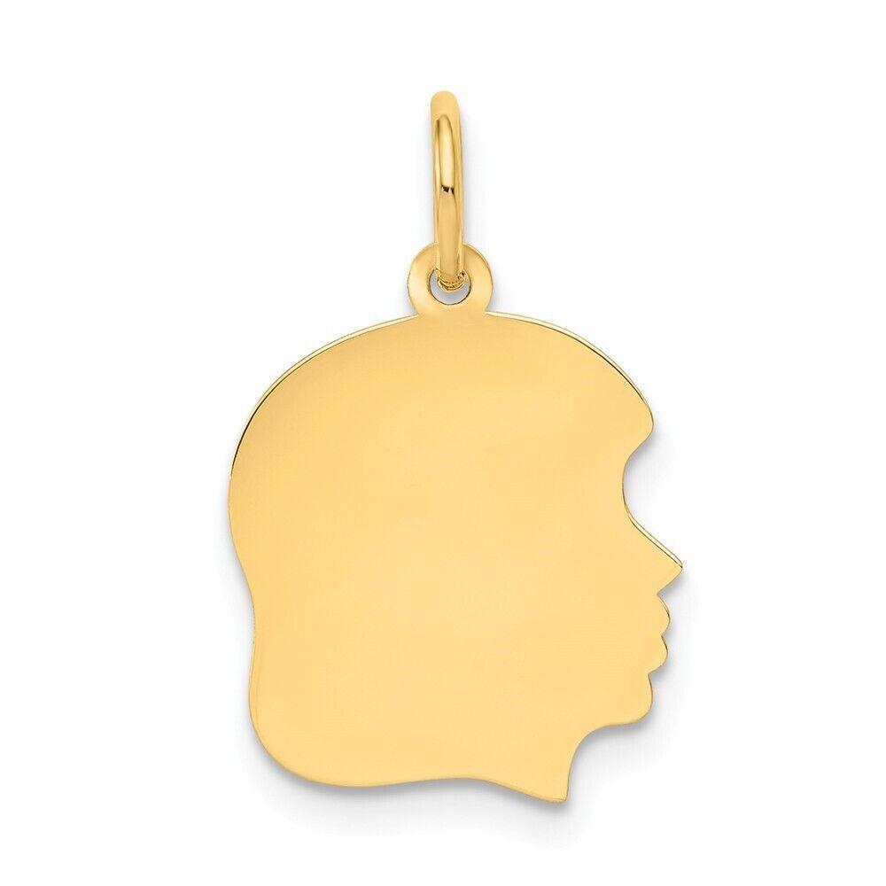 Genuine 10k Yellow gold Right Engravable Girl Head Charm .013 Gauge 0.59 gr