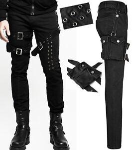 EN-STOCK-Jeans-pantalon-gothique-punk-steampunk-rivets-sangle-pochette-PunkRave