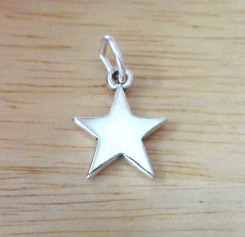 Sterling Silver 13mm 5 Point Solid Smooth Star Charm