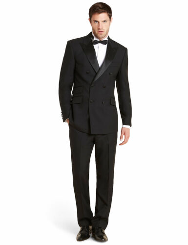 "M&s sectorielle laine double breasted 2 Bouton SmokingDîner Suit 40""34""W Jambe 33"" afficher le titre d'origine"