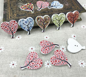 Details about Mix Wooden buttons Heart-shaped Tree Sewing scrapbooking  Handmade crafts 30mm