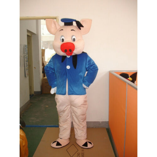 2019 Blue Pig Mascot Costume Cosplay Party Game Dress Outfit Advertising Adult