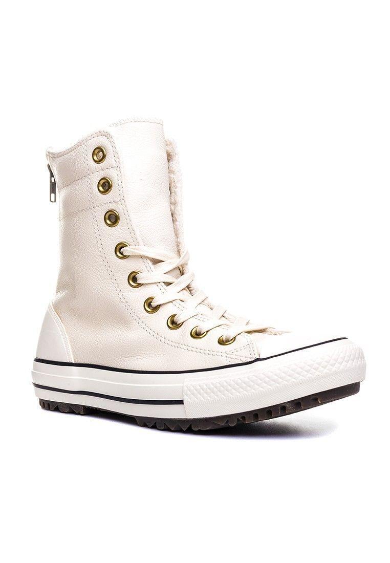 Converse - 553389C-Ctas Hi Rise-Zapatos Mujer blancoo Cuero Cuero Cuero Crema-Tamaño 8  compra en línea hoy