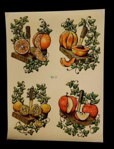Vintage Totally Retro Meyercord Fruit Transfer Decals RC 11 Lemon Orange Apple