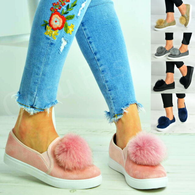 New Womens Flat Trainers Ladies Pom Pom Slip On Sneakers Shoes Size Uk 3-8