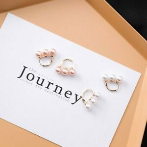 Three-Simulated-Pearls-Beaded-Hoop-Earrings-Small-Earring-Women-Jewelry-Gift