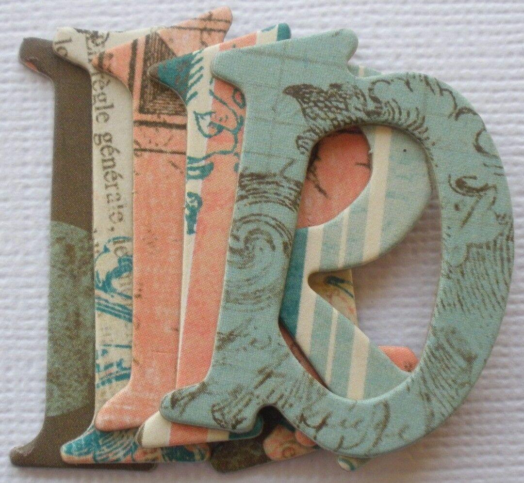 "Bo Bunny *GABRIELLE* Alphabet Chipboard Letters /& Die Cuts 1.5/"" inch"