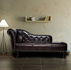 Relaxing chaise longue brown vintage chair chesterfield lounge tufted couch sofa 730544118595 ebay - Chesterfield chaise longue ...