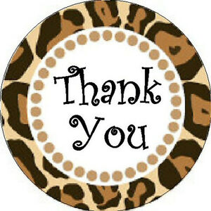 Image is loading THANK-YOU-STICKER-Leopard-Print-1-034-Round-