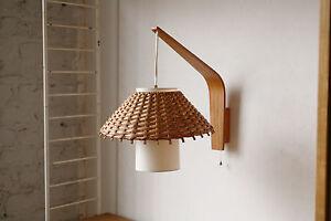 true vintage danish modern wandlampe 60er lampe 60ies formholz korb schirm ebay. Black Bedroom Furniture Sets. Home Design Ideas