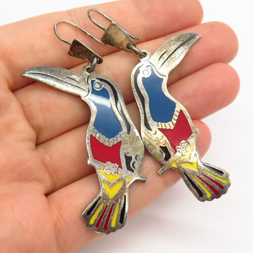 925 Silver Mexico Bird Pelican Toucan Earrings on Circular Sterling Earwires