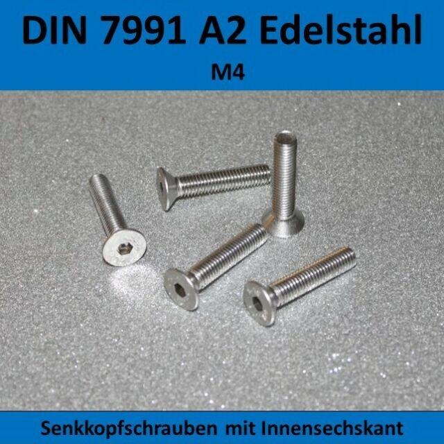 Senk DIN 7991 50 St/ück Senkkopf Schrauben M 4x35 mm 50, M4x35 mm Senkkopfschrauben A2 Edelstahl V2A Innensechskant