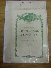 30/07/1947 Music/Concert Programme: Royal Albert Hall - Henry Wood Promenade Con