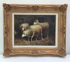 J. STETON Lambs / Sheep ORIGINAL Oil Painting On Canvas, Framed Fine Art