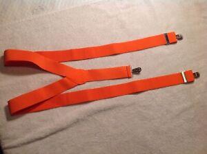 Details about Amish Mennonite Elastic Clip-On Suspenders Orange 1 1/4